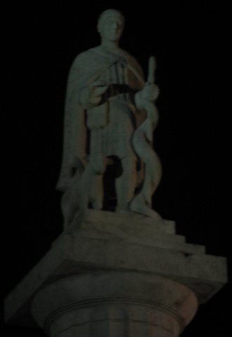 Westport - St Patrick\'s Statue at Night.jpg